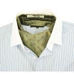 メンズ シルク アスコット ふくろう スカーフ (イタリア マレリー社 ネクタイ) ・グリーン 限定品 日本製  ラッピング無料