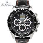 ブルックスブラザーズ 腕時計 BROOKS BROTHERS クロノグラフ クオーツ式 ウォッチ 本革 レザーベルト 時計 ブラック 黒【送料無料】