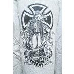 INDEPENDENT (インディー,パーカー,プルオーバー) T.NOZAKA TATTOO CROSS P/O HOOD GREY