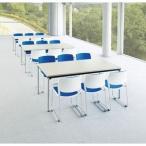 アイコ 2台セット 高級会議用テーブル ステンレス脚 棚なしATX-1890SE 角型 幅1800×奥行き900MM ニューグレーNGR