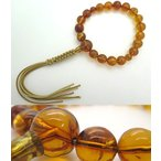 数珠 男性用 天然虫入琥珀 18玉 共仕立て 紐房 鑑別書付 アンバー 限定品40.8g