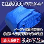 ブルーシート タープ 厚手 防水 規格# 3000 サイズ 5.4m×7.2m 1枚 法人 商店 団体向け