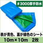 ショッピングブルー ブルーシート 厚手 防水 3000  10m×10m 2枚セット 緑&青