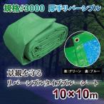 ブルーシート グリーン 色 防水 厚手 #3000 10m×10m カラー 緑&青 リバーシブル ハトメ
