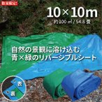 ブルーシート 3000 厚手 防水 10m×10m 1枚 青&緑