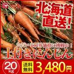 土付き にんじん 北海道産 (20kg/ M〜Lサイズ)  産地直送/  低農薬/ 送料無料