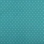 生地 水玉スムースプリント(142-1470) A9青緑×白 (b)k3