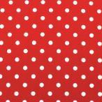 生地 水玉ブロード(288190) M 7-10.赤地×白 (b)k1