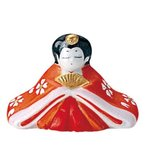 錦絵おひな畑(白磁赤絵仕上) 内裏雛 姫 [高さ3.7cm] 雛祭り 桃の節句