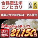 お米 24kg(2kg×12袋) 合鴨米 熊本県産 ヒノヒカリ 白米・玄米 選択 令和2年(2020年)【米袋は真空包装】