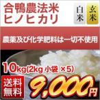 お米 10kg 合鴨米 熊本県産 ヒノヒカリ 10kg (2kg×5袋) 白米・玄米 選択 令和2年(2020年)【米袋は真空包装】