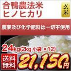 お米 24kg 合鴨米 熊本県産 ヒノヒカリ 玄米 (2kg×12袋)  令和元年産(2019年) 米袋は真空包装
