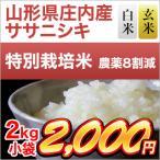 お米 山形県庄内産 ササニシキ 2kg 特別栽培米 平成28年(2016年)