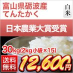 お米 新米 富山県 砺波産 てんたかく 30kg(2kg×15袋) 送料無料 28年度産 白米
