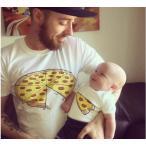 送料無料 親子コーデ ベビー 親子ペアルック 赤ちゃん 可愛いピザプリント 黒/ピンク/グレー/ホワイト ベビー 親子お揃いコーデ 子供服 親子服 半袖Tシャツ