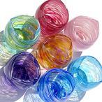 琉球ガラス:美海ハート型飲み口グラス(全7色):源河源吉