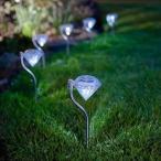 【新入荷!】ダイヤモンドソーラーLEDガーデンライト(白光色) 4個セット【送料無料】【即納】