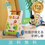 手押し車 知育 遊び 木製 木のおもちゃ 知育玩具 ベビーウォーカー かたかた つかまり立ち 歯車 迷路 型はめ 赤ちゃん RiZkiZ 送料無料