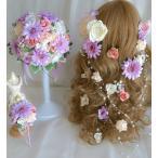 ラウンドブーケ ラプンツェル風髪飾り ブートニア ガーベラピンクパープル