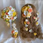 ラウンドブーケ ラプンツェル風髪飾り ブートニア プルメリア イエロー