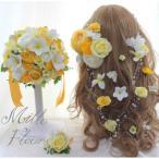 ラウンドブーケ ラプンツェル風髪飾り ブートニア  プルメリア イエロー ホワイト NO.142