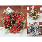 クリスマス リース 約40センチ 玄関 ドア 北欧 選べる3色 ゴールド レッド シルバー インテリア ゴージャス かわいい 屋外用