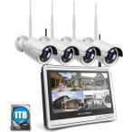 防犯カメラ ワイヤレス 200万画素 Wi-Fiカメラ×4台 11.4インチモニター付き 録画チューナー(HDD 1000GB内蔵)セット