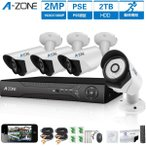 防犯カメラ A-ZONE 200万画素カメラ×4台 4ch録画チューナー(2TB HDD付き)セット  ビデオ監視システム セキュリティカメラ 室内 室外