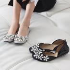ショッピングフラット フラットシューズ レディース ペタンコ ビジュー ファッション 靴 婦人靴
