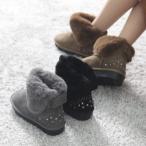 ショッピングスタッズ ムートン レディース スタッズ フェイクファー フラットヒール ペタンコ 2017 秋冬 ファッション 靴 婦人靴