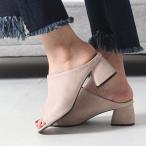 ショッピングミュール サンダル レディース ミュール チャンキーヒール 太ヒール スエード調 2017 春 ファッション 靴 婦人靴
