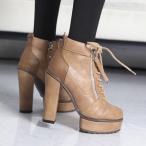 ショッピングブーティー ブーティ ブーティー チャンキーヒール レースアップ 厚底 シンプル ブーティ レディース 2016 秋 ファッション レディース 靴 婦人靴 30代 40代
