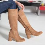 ショッピングロングブーツ ロングブーツ ブーツ レディース 秋 ファッション 靴 婦人靴 30代 40代 チャンキーヒール 太ヒール スエード調