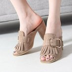 ショッピングフリンジ サンダル レディース ミュール チャンキーヒール フリンジ 太ヒール 2017 春 ファッション 靴 婦人靴