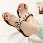 サンダル レディース ファッション 靴 ビジュートングサンダル エスパドリーユ ローヒール ウェッジソールサンダル  婦人靴