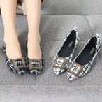 ショッピングフラット フラットパンプス レディース ペタンコ レッドソール ツイード 2017 秋冬 ファッション 靴 婦人靴