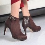 ショッピングブーティー ブーティ 裏起毛 ブーティー 切り替え スエード調 ブーティ レディース 2016 秋 ファッション レディース 靴 婦人靴 30代 40代