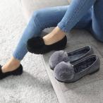 ショッピングフラット フラットヒール レディース パンプス スエード調 裏起毛 2017 秋冬 ファッション 靴 婦人靴
