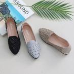 ショッピングフラットシューズ フラットシューズ レディース ポインテッドトゥ メッシュ キラキラ 2018 夏 ファッション 靴 婦人靴