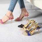 サンダル レディース ミュール ヒール キラキラ 40代 オフィス 疲れないサンダル ピンヒール 婦人靴 ファッション