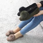 ショッピングフラット フラットパンプス レディース スエード調 フェイクファー 2017 秋 冬 ファッション 靴 婦人靴