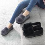 ショッピングフラット フラットパンプス レディース ペタンコ スエード調 フェイクファー 2017 秋 冬 ファッション 靴 婦人靴