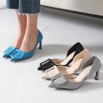 パンプス レディース ポインテッドトゥ サイドオープン セパレート バックル ピンヒール ファッション 靴 婦人靴