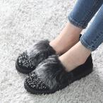 ショッピングフラット フラットシューズ レディース フェイクファー キラキラ 2017 秋冬 ファッション 靴 婦人靴