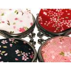 がま口財布 小銭入れ 桜小紋 花柄 かわいい 赤 黒 白 ピンク ちりめん レトロ 和雑貨 コインケース 真鍮口金 日本製 【パ】