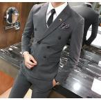 ダブル スーツ スリム 細身 スリーシーズン対応 モードスタイル 6ツボタンスタイリッシュ メンズスーツ ビジネススーツ
