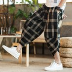 新作 メンズ ズボン ガウチョパンツ 七分丈パンツ カジュアル ハレムパンツ チェック柄 男性用 ゆったり ニッカボッカ 夏用 大きいサイズ オシャレ