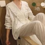パジャマ レディース 春夏秋   姫系 長袖  ルームウェア 寝巻き 2点セット シルクパジャマ 薄手 レース ロングパンツ 寝間着 部屋着 体型カバー 韓国風 可愛い
