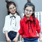 ネコポス発送 入学式 ブラウス シャツ 女の子 リボン付 長袖 韓国子供服 ブラウス キッズ ジュニア フォーマル 女の子