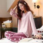 韓国風パジャマ ニットレディース ルームウェア綿100% コットン 長袖 長ズボン 上下セット セットアップ 秋冬 大きいサイズ 可愛い ロングパンツ 寝間着